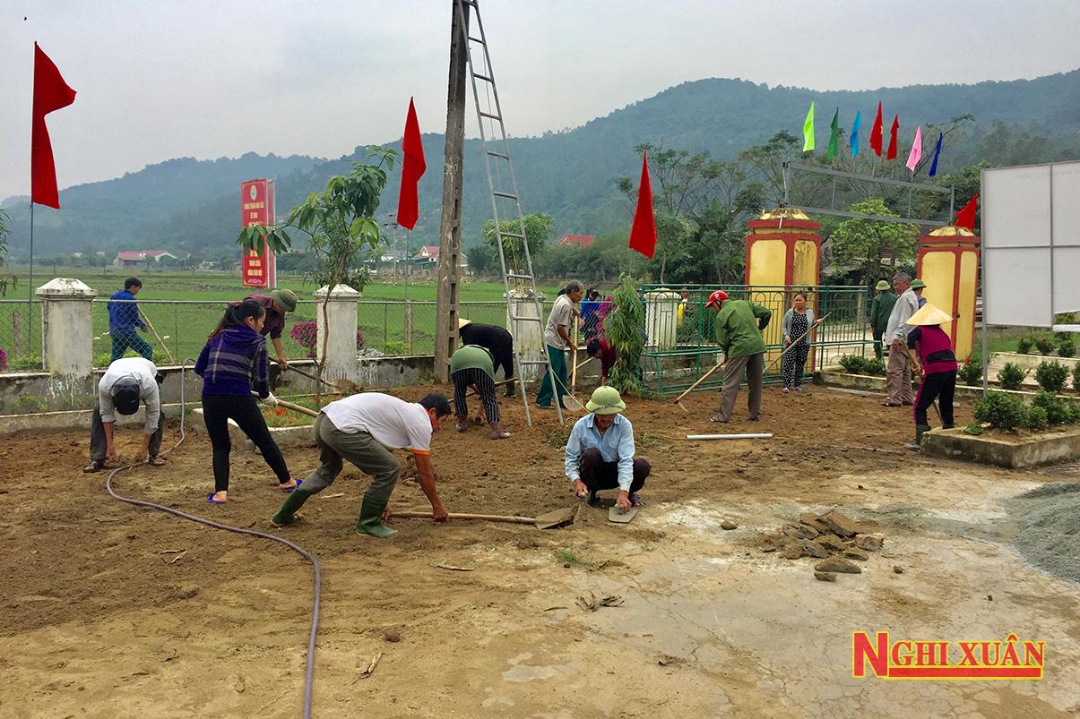 Nhân dân thôn 1 Xuân Lĩnh tập trung xây dựng Khu dân cư NTM kiểu mẫu