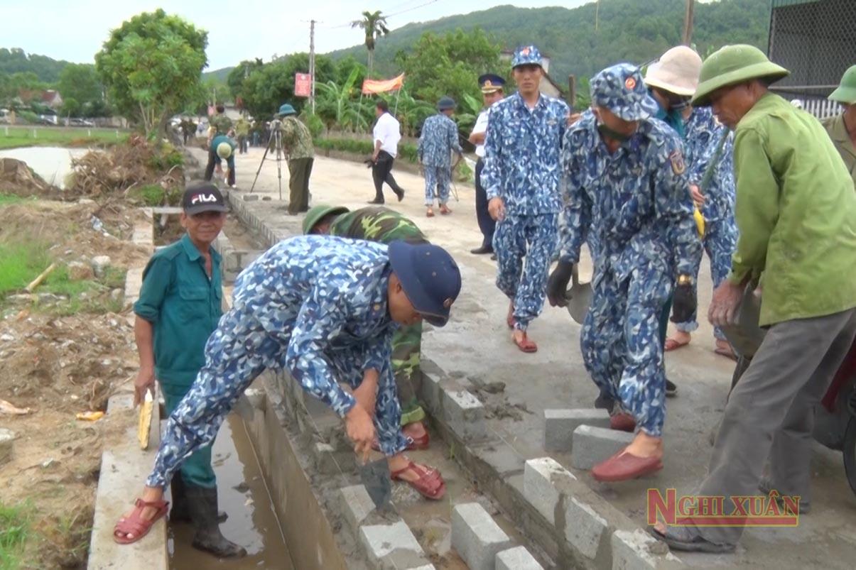 Lực lượng vũ trang chung tay cùng Xuân Hồng xây dựng nông thôn mới nâng cao
